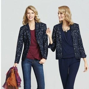 CAbi Jacquard Blazer Blue Wool Flocked Jacket 6